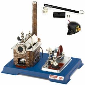 Parní stroj s dynamem a elektrickou lampou D105
